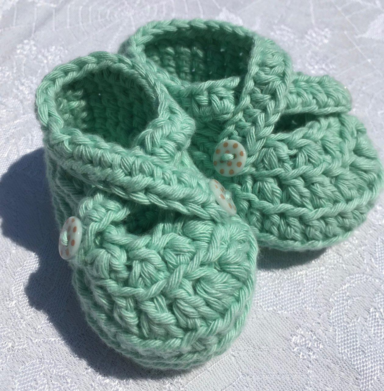 Crochet Booties – Green Organic Cotton