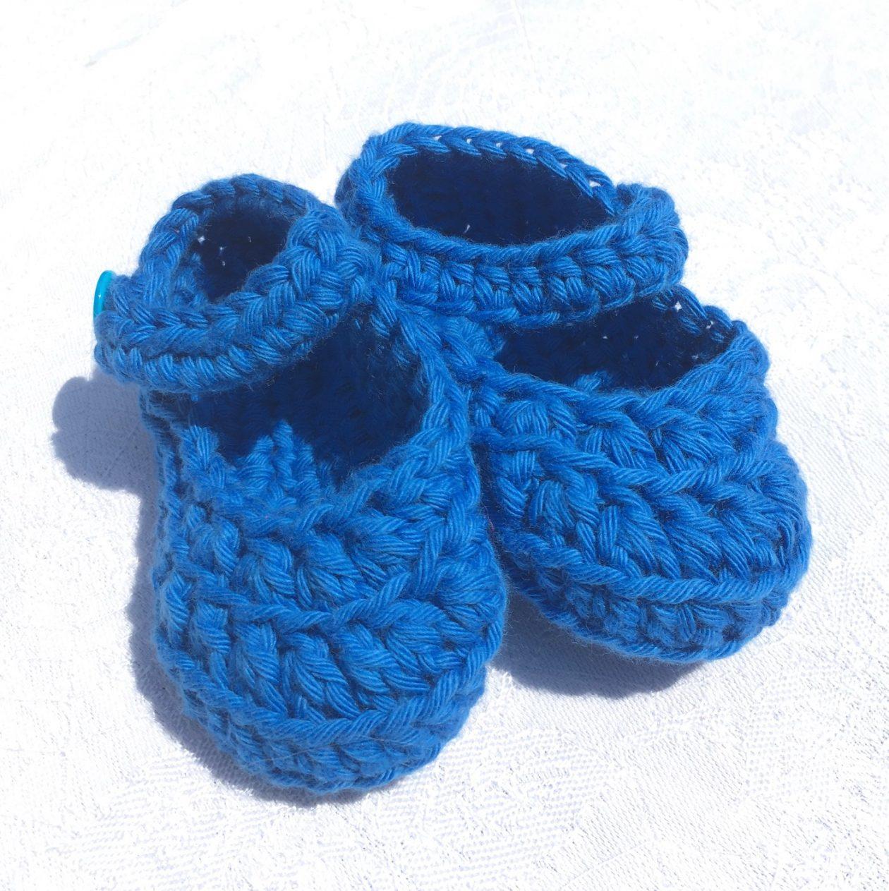 Crochet Booties – Dark Blue Cotton