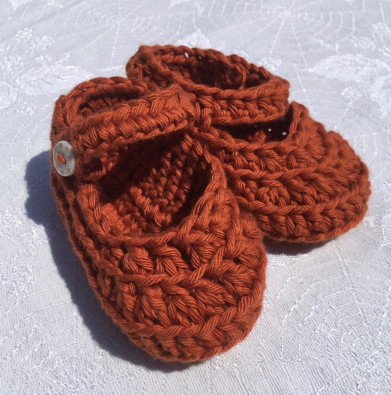 Crochet Booties – Organic Cotton  Terracotta